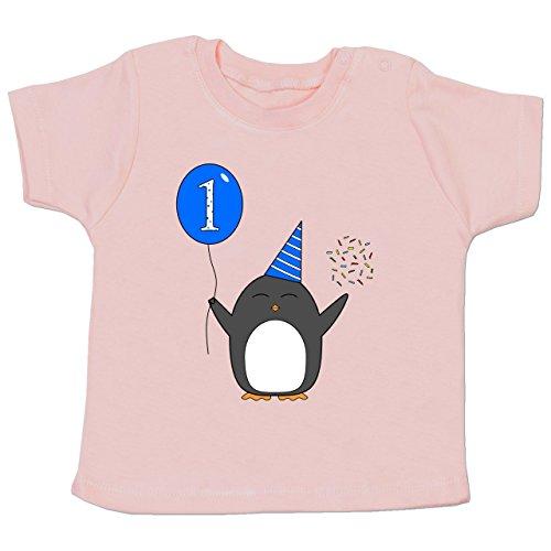 Geburtstag Geschenk für Babys - 1.Geburtstag - Baby - Blau - Pinguin - Ballon - Konfetti - 12-18 Monate - Babyrosa - BZ02 - - Baby Jungen Mädchen T-Shirt Babies (T-shirt Pinguin-winter)