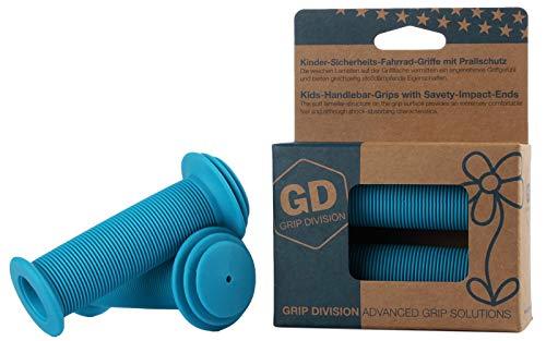 Puños para bicicleta para niños con protección de impacto de seguridad de GD Grip Division , color azul, tamaño 100 x 43 mm, 0.13