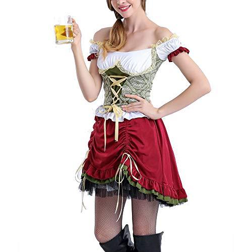 Fraulein Oktoberfest Womens Kostüm - Antybaby Women's Oktoberfest Fraulein Costume Bavarian Beer Girl Sexy Maid Dress Halloween Party Costume