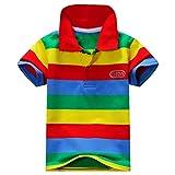 Reciy Jungen Baumwolle Kurzarm Gestreiftes Poloshirt Kinder T-Shirt 1-7 Jahre B 14