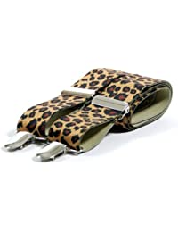 Retro Animal Print Fashion Trouser Braces - Leopard Print (Occasional Use)