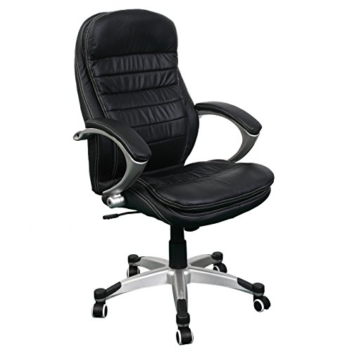 Jet-Line Bürostuhl Rom schwarz Büro Drehstuhl Ausstattung Leder höhenverstellbar Rindsleder black Chef Sessel