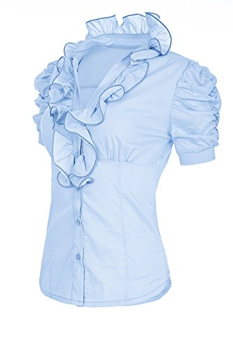 Laeticia Dreams Damen Bluse Kurzarm S M L XL XXL XXXL, Farbe:Hellblau;Größe:42