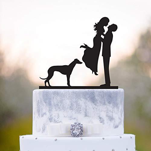 Decoración para tarta de boda con diseño de perro galgo, decoración para...