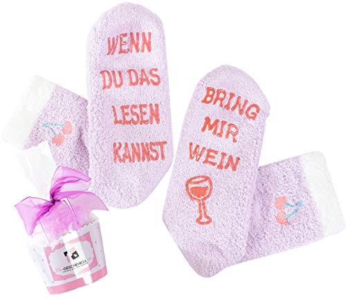 [Wein-Socken Frühjahr Special] WENN DU DAS LESEN KANNST, BRING MIR WEIN, kuschelig mit Wein-Spruch auf Sohle, Gastgeschenk zum Ostern, Geburtstagsgeschenk für Damen (Lila)