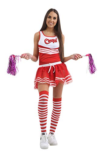 2 High Musical Kostüm School - Momo&Ayat Fashions Damen Herren Cheerleader School Musical Pom Pom Kostüm-Mix & Match (M/L (EUR 40-42), Cheers Damen Weste - Rot)