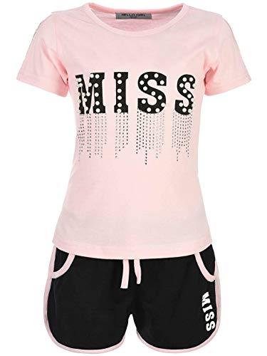 Kinder Mädchen Sommer Set T-Shirt Shorts Hot Pant Kurze-Hose Kurzarm Glitzersteinchen 20024 Rosa 116 Rosa Capri-set