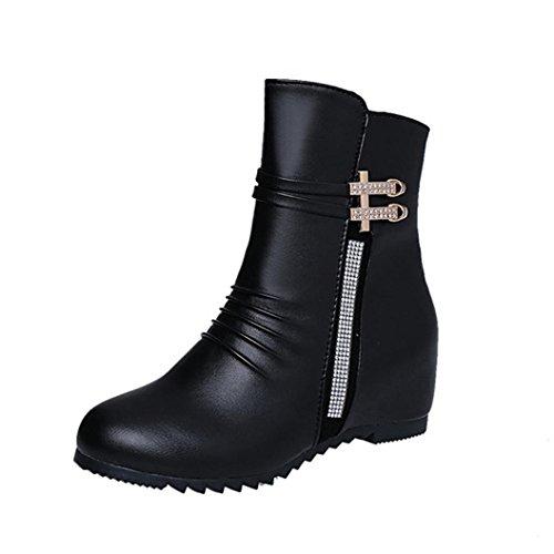 TPulling Herbst Und Winter Modelle Schuhe Mode Damen Strass Dekoration Erhöhte Stiefel Bequeme Lederstiefel Reißverschlüsse Wärme Outdoor Booties Ankle Lässige Schuhe Martin Stiefe (39, Schwarz) (Robuste Sandale Lässige)