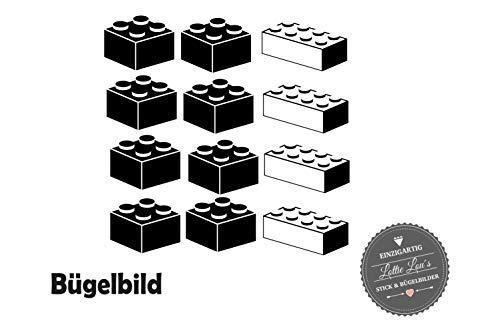 Bügelbild Aufbügler Baustein Brick Set in Wunschgröße -