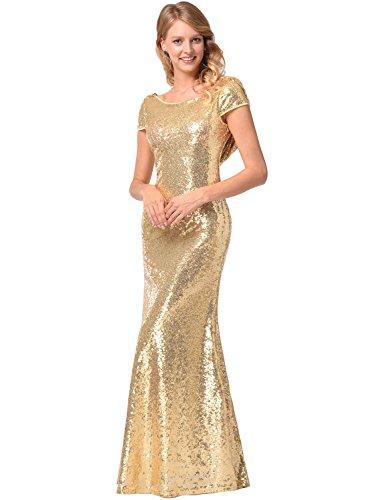 Frauen Kurzarm O-Ausschnitt Fischschwanz hell Abend Prom Pailletten Kleid Gold S