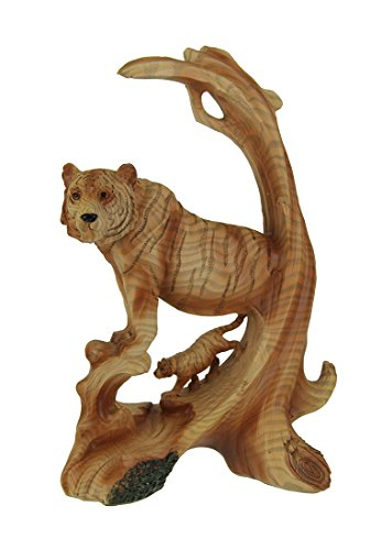 Everspring tiger on the mountain faux carved wood look statue