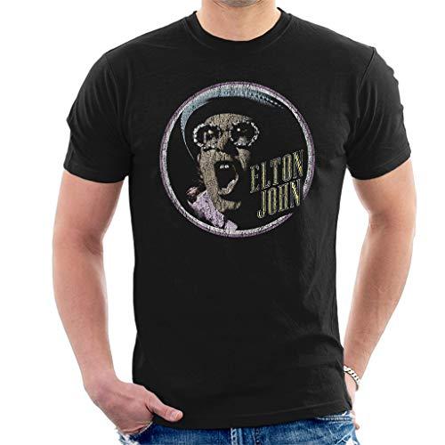 Elton John Circle Kurzarm Herren T-Shirt Schwarz Large