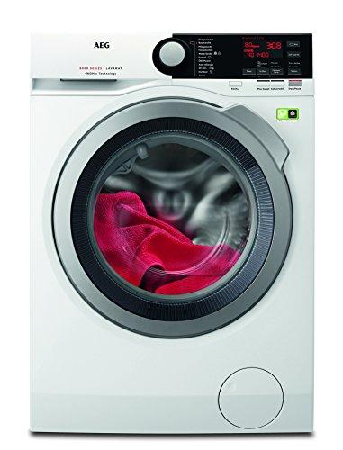 AEG L8FB74484W Waschmaschine Frontlader / idealer Waschautomat mit Woll-, Seiden- und Outdoortrockenporgramm / 8 kg Schontrommel / Dampfprogramm und Mengenautomatik / sparsame Waschmaschine der Energieklasse A+++ (117 kWh/Jahr) / weiß