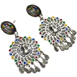 SHIV SHAKTI THREAD Traditional Eid collection Oxidized Silver Mirror Work Afghani Style Bahubali Earrings with Hair Chain for