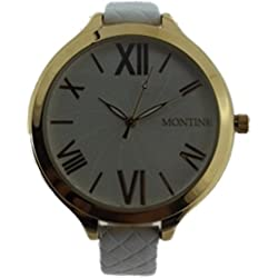 Ladies Montine Watch White Leather Strap and Gold Tone Housing MOW4560LSW