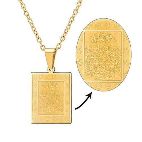 PROSTEEL Damen Herren Collier 18k vergoldet Ayatul Kursi Anhänger Halskette mit Allah und Koran Verse Islamisch Schmuck Geschenk für Geburtstag(Gold)