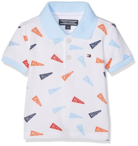 Tommy Hilfiger Baby-Jungen Poloshirt Flag Boy Polo S, Weiß (Classic White 100), 74