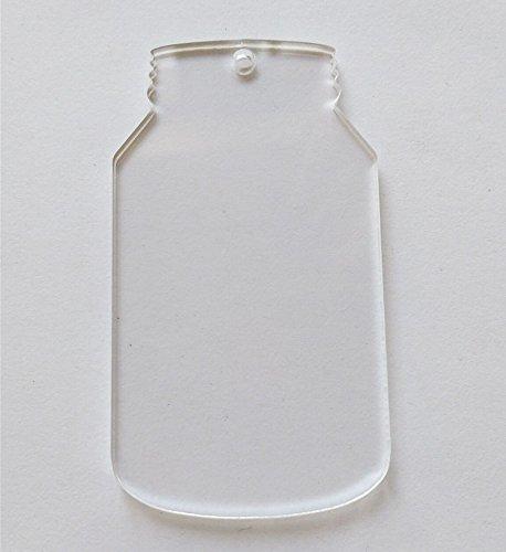 100/viel blanko klar Acryl Laser geschnitten Mason Jar, Plexiglas-blanko Schlüsselanhänger Halskette DIY Zubehör 1/20,3cm Stärke 3inch farblos
