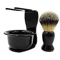 CINEEN 3 en 1 Cepillo de Afeitar Sostenedor de Afeitado Tazón Taza para Organizador Maquinilla de Afeitar Decoración de Baño Set de Afeitar Negro