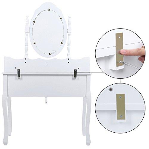 Songmics weiß 7 schubladen Schminktisch mit spiegel und hocker, inkl. 2 Stück Unterteiler, Kippsicherung, 145 x 90 x 40 cm RDT10W - 3
