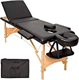 BOUDECH Panca per Massaggi 3 Zone PROFESS. Lettino Estetista Portatile Nero Legno *LETTINOLEGNONER*