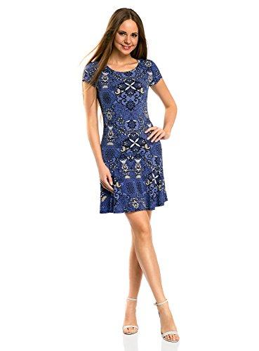 oodji Ultra Damen Jersey-Kleid mit Volants, Blau, DE 40 / EU 42 / L