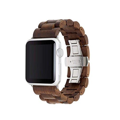 Aiyiben Wooden Watch Band per Apple Watch, 100% eco-friendly in legno naturale orologio da polso Addensato cinturino bracciale per iWatch Series 3, 2, 1, sport, Edition Walnut-42mm