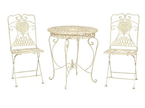 Gartentisch und 2 Stühle Bistrotisch Eisen Garten antik Stil Gartenmöbel weiss