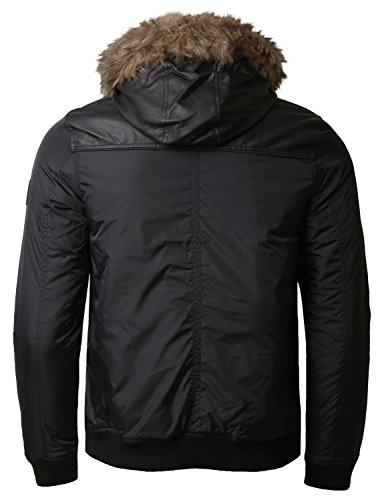 Threadbare Parka rembourré pour homme imitation fourrure avec Manteau d'hiver court à capuche Noir - Noir