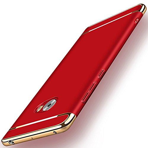 Xiaomi Mi Note 2 Funda + Anillo inteligente Sostenedor Soporte, 3 en 1 híbrido Carcasa Antideslizante, Caso Protectora Completa Ultra Delgado y Ligero, Slim Fit Anti-Choque Bumper Case Cover - Rojo