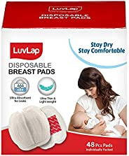 LuvLap Ultra Thin Disposable Breast Pads, Super Absorbent, Discreet Fit, Pack of 48 (White)