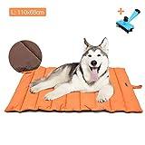 Letto per cani Grande/Medio Tappetino per cani Portatile IMPERMEABILE Coperta da Picnic per Famiglie Multifunzione 110x68cm Cuscino per Uso Interno ed Esterno con Pennello per Cani/Gatti (Arancia)