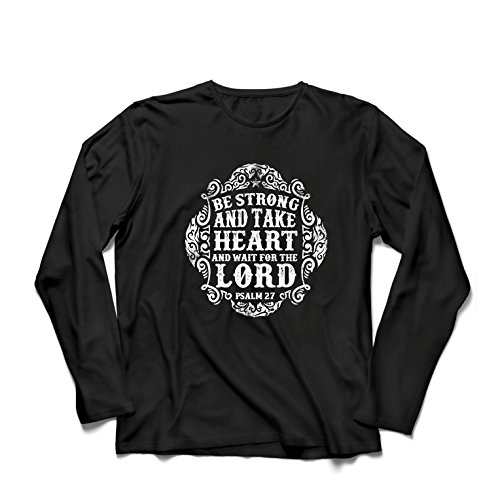 lepni.me Long Sleeve t Shirt Men Wait For The Lord - Books On The Psalms - Easter - Resurrection - Nativity- Religious Christian Gifts