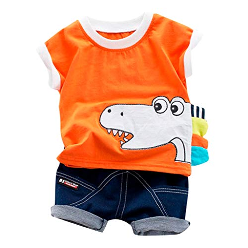 Topgrowth set neonato camicie dinosauro maglietta a maniche corte stampa t-shirt cime tops + pantaloni corti bimbo pantaloncini jeans bambini 2 pcs casual outfits