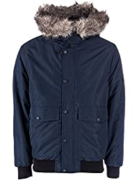 D-Struct Mens Moose Jaw Crop Jacket in Navy- Zip Fastening- Popper Button Storm
