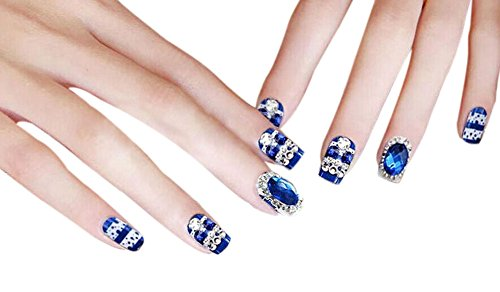 22 pièce style charmant Wedding Maquillage / 3D Design faux ongles, Bleu