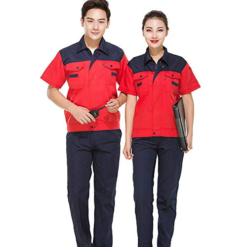 XFentech Set di abbigliamento da lavoro - tuta da uomo e donna estiva a maniche corte adatta ai lavoratori che indossano indumenti protettivi, Stile-7, EU 150=Tag 160