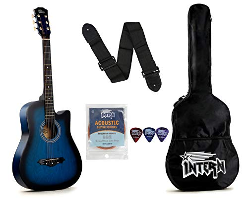 Intern INT-38C Acoustic Guitar Kit, With Bag, Strings, Pick And Strap, Blue