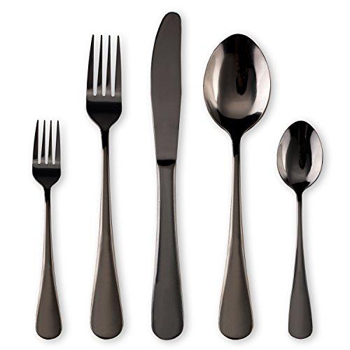 Schwarzes Besteck / Besteck Set, 30 Stück Edelstahl Messer Gabel Löffel Set für 6 Personen (schwarz, 6 Sets) Schwarz Messer-set