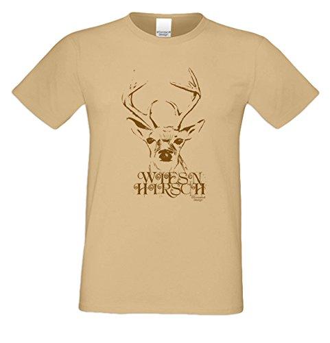 Shirt T-Shirt Geschenkidee Geburtstagsgeschenk Wiesn - Hirsch Bierzelt Oktober-Fest kurzarm Farbe: sand Sand