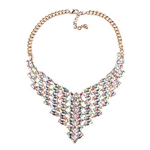 XXHDYR Europäische Und Amerikanische Alternative Strass Halskette Super Flash 47 + 7 * 8 cm Halskette (Farbe : Klar)