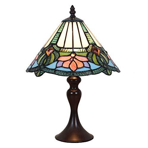 Vintage Tiffany Tischlampen Weiß Blau 10 Zoll, Tiffany Tischlampe Antik Original, Glasmalerei Lampen Schlafzimmer Nacht Lampenschirme Wohnzimmer von FBOSS -