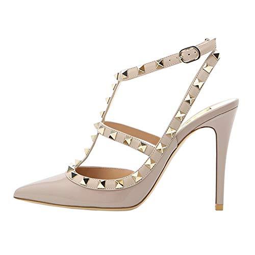 EKS Damen Apricot High Heels Sandalen Nieten Rivets Kleid-Partei Pumps Apricot 36 EU Patent Schuhe High Heel