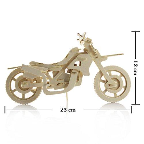 Generic 3D Holz Puzzle Spiel Kinder Baustein Building Blocks Pädagogisches Spielzeug - Motorrad, 23x12cm