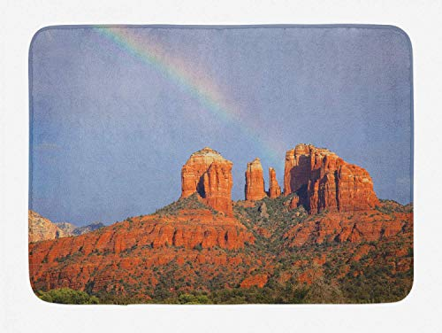 St574ony Bath Rug Arizona Bath Mat, Rainbow Above Grand Canyon Mountains National Park Scenery, Plush Bathroom Decor Mat, 16x 24 Inches, Burnt Orange Ceil Blue and Sepia