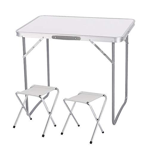 Aluminium Frame Sofa (Tische Klapptische Hocker tragbar Aluminium Leichtgewicht Gartentische Picknicktische Mit Tragegriff CJC (Farbe : Weiß, größe : 1 Table+2 stools))