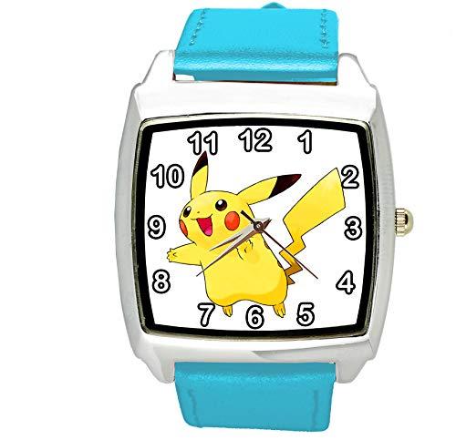 taport Pikachu Pokemon quadratisch QUARZ ARMBANDUHR BLAU LEDER BAND + Gratis Ersatz Batterie + Gratis Geschenkverpackung