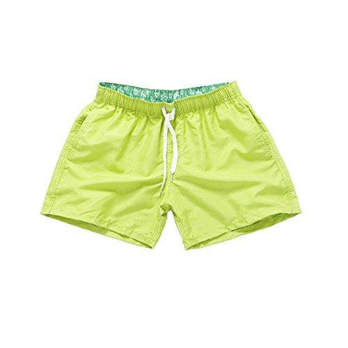 Uomo asciugatura veloce pantaloncini sportivi da bagno mare nuoto spiaggia costume da bagno giallo fluorescente m