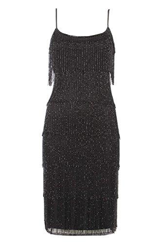 Roman Originals - Robe à Franges avec Perles Charleston Années 20 Bretelles - Noir Noir