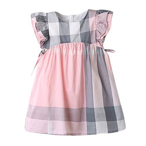 (JUTOO Neugeborenes Kleinkind Kinder Baby Mädchen Sommerkleid Plaid Printing Bowknot Party Princess Dresses (Rosa,120))